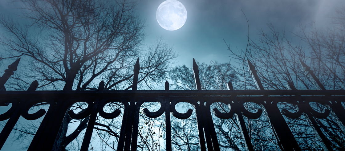 creepy fence with a full moon and fog